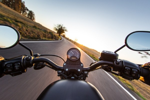 motorcycle driving on open road