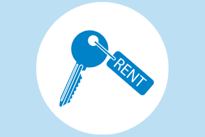 "House key with word ""rent"""